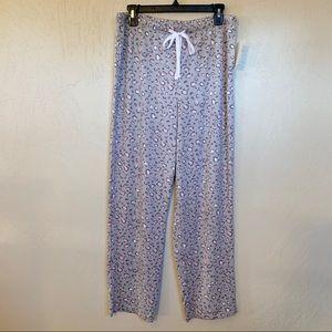 Anne Klein Leopard Pajama Pants Lavender Grey Pink